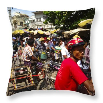 Throw Pillow featuring the photograph The Bustling Traffic On 27th Street Zay Cho Street Market Mandalay Burma by Ralph A  Ledergerber-Photography