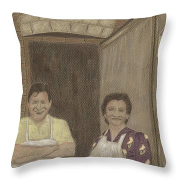 The Butcher And His Wife  Throw Pillow by Arlene Crafton