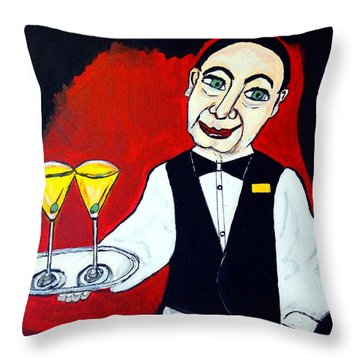 Throw Pillow featuring the painting The Butler  by Nora Shepley