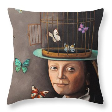 The Butterfly Keeper Edit 2 Throw Pillow by Leah Saulnier The Painting Maniac