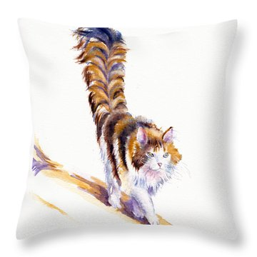 The Calico Cat That Walked By Himself Throw Pillow