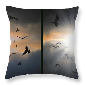 The Call - The Caw - Gently Cross Your Eyes And Focus On The Middle Image Throw Pillow by Brian Wallace