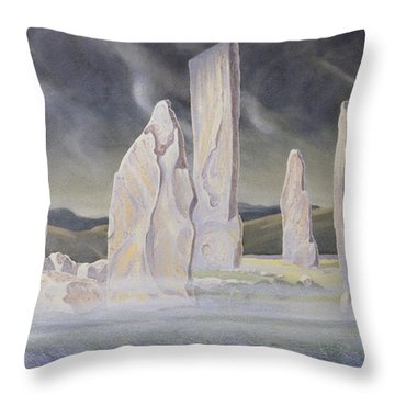 The Callanish Legend Isle Of Lewis Throw Pillow by Evangeline Dickson