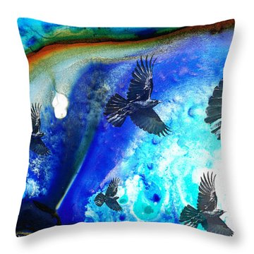 The Calling - Raven Crow Art By Sharon Cummings Throw Pillow by Sharon Cummings