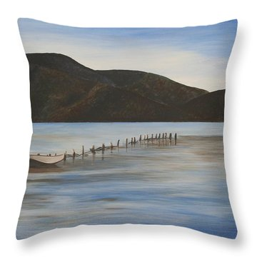 Throw Pillow featuring the painting The Calm Water Of Akyaka by Tracey Harrington-Simpson