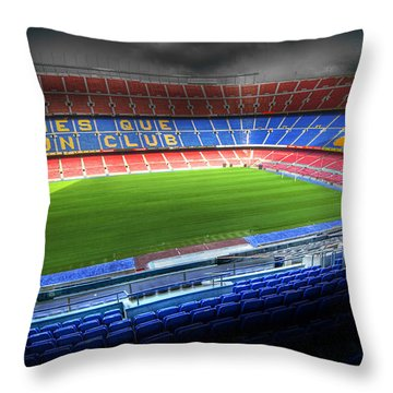 The Camp Nou Stadium In Barcelona Throw Pillow