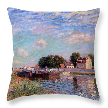 The Canal At Saint-mammes Throw Pillow
