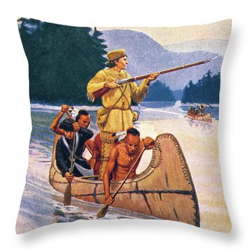 The Canoe Race By R F Babcock Shows Throw Pillow