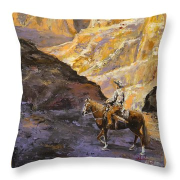 Throw Pillow featuring the painting The Canyon by Alan Lakin