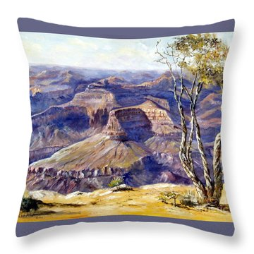 Throw Pillow featuring the painting The Canyon by Lee Piper