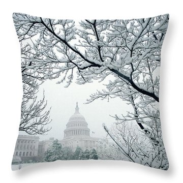 The Capitol In Snow Throw Pillow by Joe  Connors