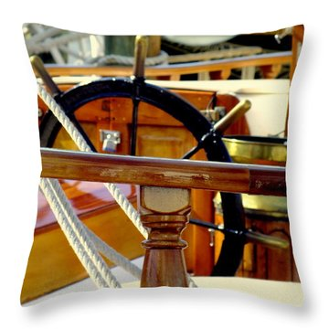 The Captain's Wheel Throw Pillow by Karen Wiles