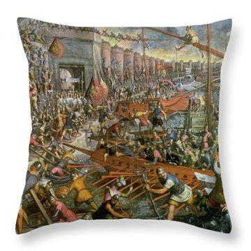The Capture Of Constantinople In 1204 Throw Pillow by Jacopo Robusti Tintoretto