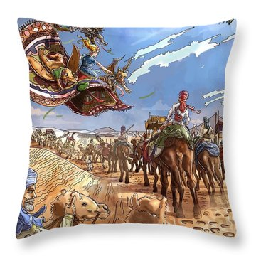 The Caravan In The Sahara Throw Pillow by Reynold Jay