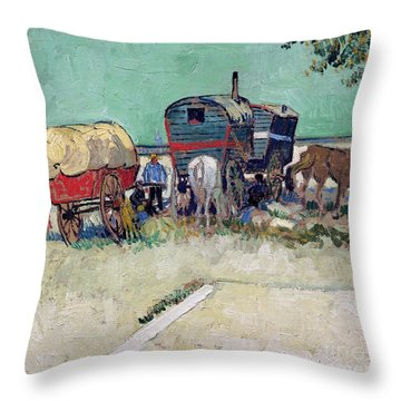 The Caravans   Gypsy Encampment Near Arles Throw Pillow by Vincent Van Gogh
