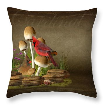 The Cardinal Throw Pillow by Davandra Cribbie
