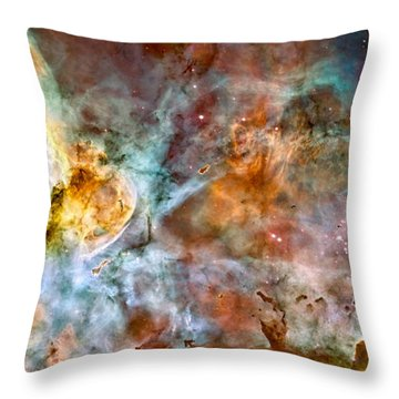 The Carina Nebula - Star Birth In The Extreme Throw Pillow by Marco Oliveira