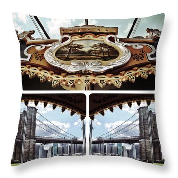 The Carousel And The Bridge Throw Pillow