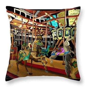 The Carousel At Coolidge Park - Chattanooga Landmark Series - #6 Throw Pillow by Steven Lebron Langston