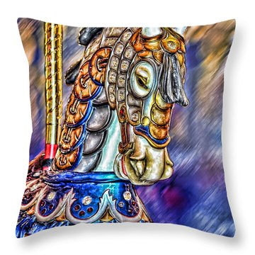 Throw Pillow featuring the painting The Carousel Horse by Mary Almond