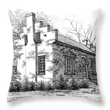 Throw Pillow featuring the drawing The Carter House In Franklin Tennessee by Janet King