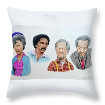 The Cast Of Sanford And Son  Throw Pillow