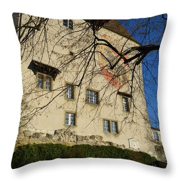 Throw Pillow featuring the photograph The Castle Greets A Sunny Day by Felicia Tica