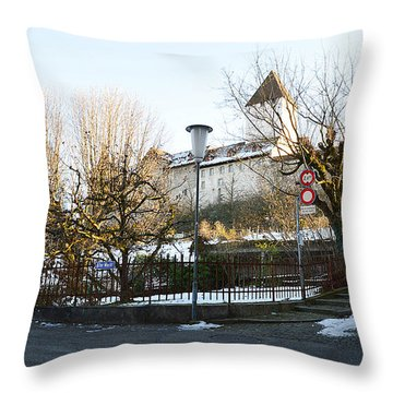 Throw Pillow featuring the photograph The Castle In Winter Light by Felicia Tica