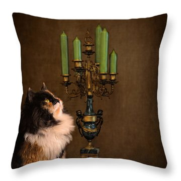 The Cat And The Candelabra Throw Pillow by Jai Johnson