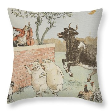 The Cat And The Fiddle Throw Pillow by Randolph Caldecott