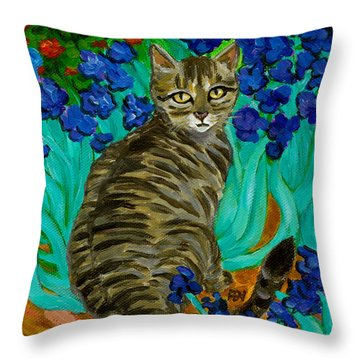 The Cat At Van Gogh's Irises Garden Throw Pillow