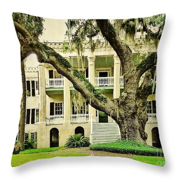 The Cat Guarding The Castle Throw Pillow