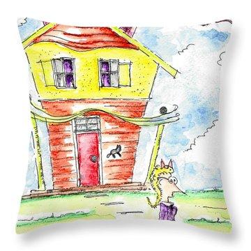 The Cat Lady Throw Pillow by Jason Nicholas