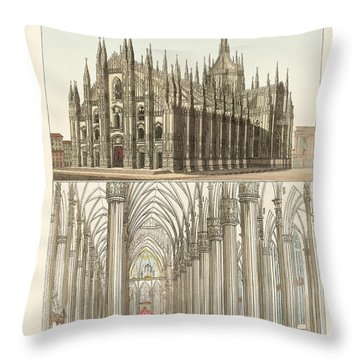 The Cathedral Of Milan Throw Pillow by Splendid Art Prints