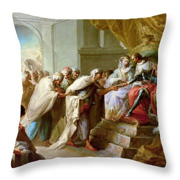 The Catholic King And Queen With An Embassy From The King Of Fez Throw Pillow