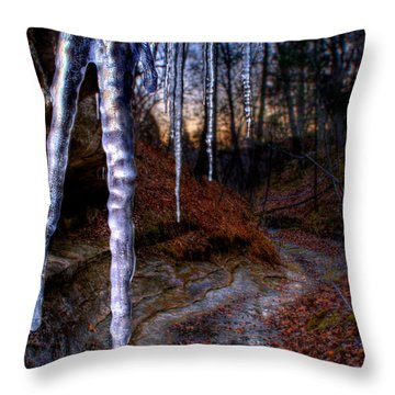 The Cave Of The Crystal Daggers Throw Pillow