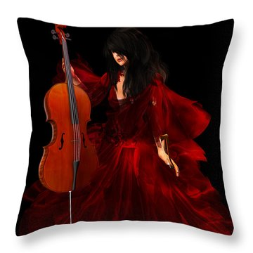 The Cellist Throw Pillow by Kylie Sabra