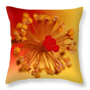 The Center Of The Hibiscus Flower Throw Pillow by Debbie Oppermann