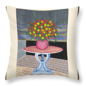 Throw Pillow featuring the painting The Centerpiece by Ron Davidson