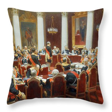 The Ceremonial Sitting Of The State Council 7th May 1901 Throw Pillow by Ilya Efimovich Repin
