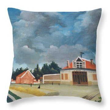 The Chair Factory At Alfortville, C.1897 Oil On Canvas Also See 309518 Throw Pillow