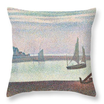The Channel At Gravelines In The Evening Throw Pillow by Georges Seurat