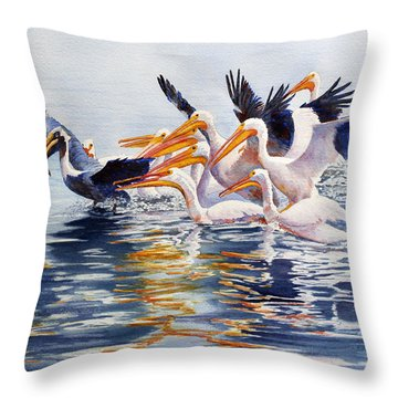 Throw Pillow featuring the painting The Chase Of The Outsider by Roger Rockefeller