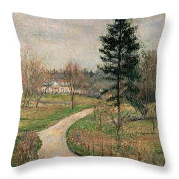 The Chateau At Busagny Throw Pillow by Camille Pissarro