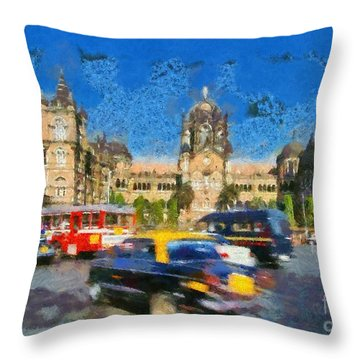 The Chatrapathi Station In Mumbai Throw Pillow