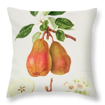 The Chaumontelle Pear Throw Pillow by William Hooker
