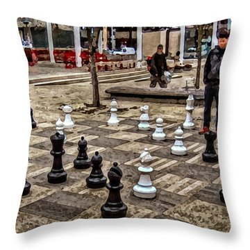 The Chess Match In Portland Throw Pillow