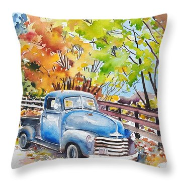 The Old Chevy In Autumn Throw Pillow