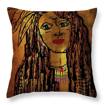 The Cheyenne Indian Warrior Brave Wolf Pop Art Throw Pillow by Pepita Selles