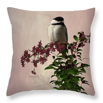 The Chickadee Throw Pillow by Davandra Cribbie